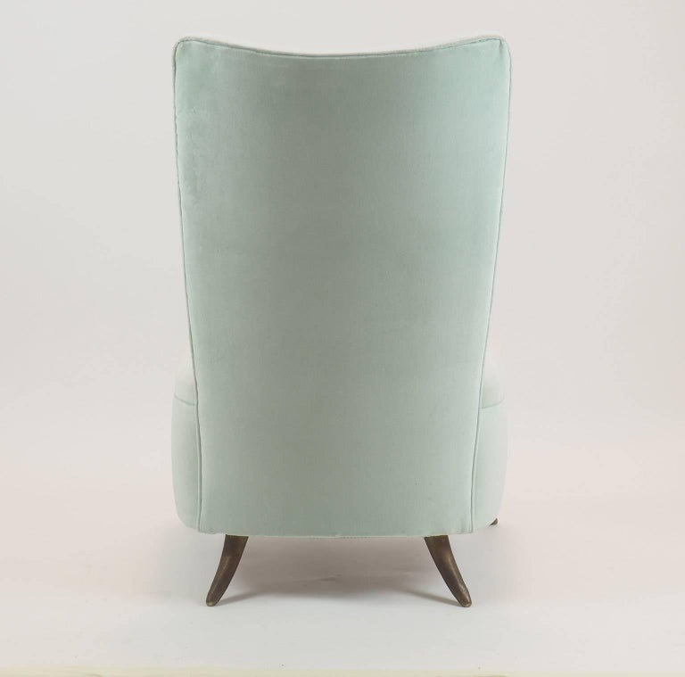 Brass Gio Ponti Attributed Fine Armchair Manufactured by ISA, Bergamo, Italy, 1950s For Sale