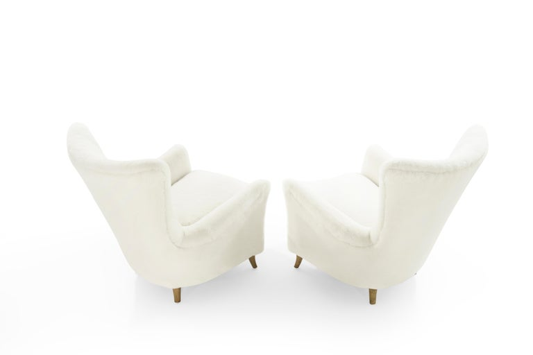 Gio Ponti Lounge Chairs in Shearling for the Hotel Bristol, circa 1950s In Good Condition For Sale In Stamford, CT