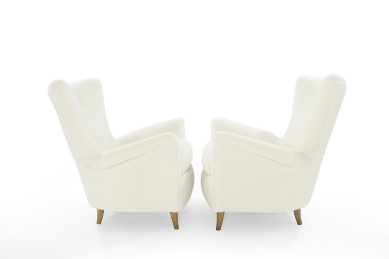20th Century Gio Ponti Lounge Chairs in Shearling for the Hotel Bristol, circa 1950s For Sale