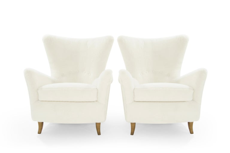 Mid-Century Modern Gio Ponti Lounge Chairs in Shearling for the Hotel Bristol, circa 1950s For Sale