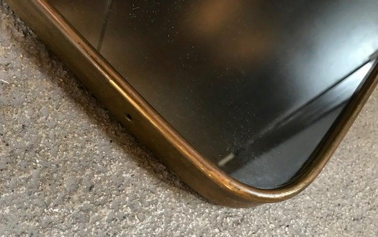 Mid-20th Century Gio Ponti attributed Minimal Brass Mirror, Italy, 1950s