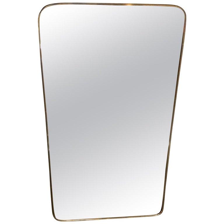 Gio Ponti attributed Minimal Brass Mirror, Italy, 1950s