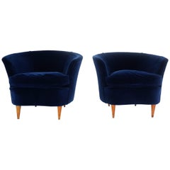 Gio Ponti Attributed, Pair of Cozy 'Shell' Armchairs