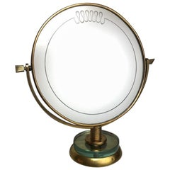 Gio Ponti Attributed Round Vanity Mirror on a Brass and Glass Stand