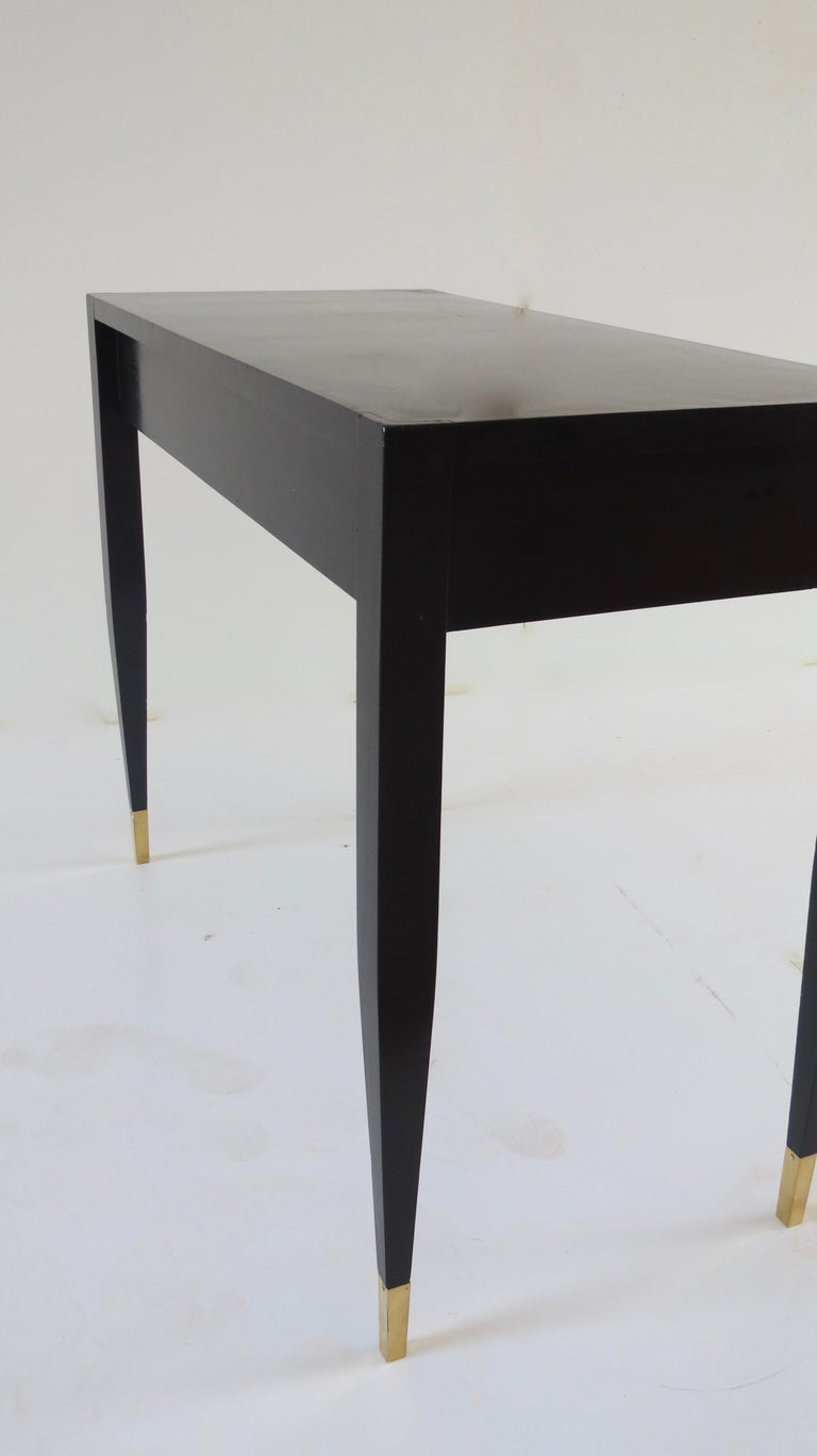 Gio Ponti Black Lacquered Vanity Desk Table Two Drawers from Hotel PdP Roma 1965 For Sale 4