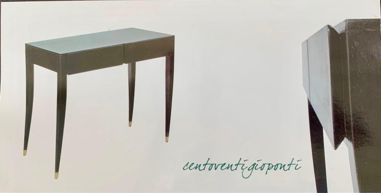 Gio Ponti Black Lacquered Vanity Desk Table Two Drawers from Hotel PdP Roma 1965 For Sale 12