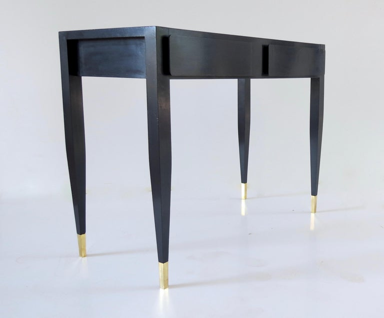 Mid-Century Modern Gio Ponti Black Lacquered Vanity Desk Table Two Drawers from Hotel PdP Roma 1965 For Sale
