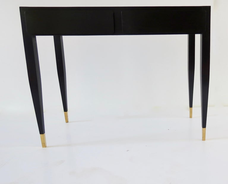Italian Gio Ponti Black Lacquered Vanity Desk Table Two Drawers from Hotel PdP Roma 1965 For Sale