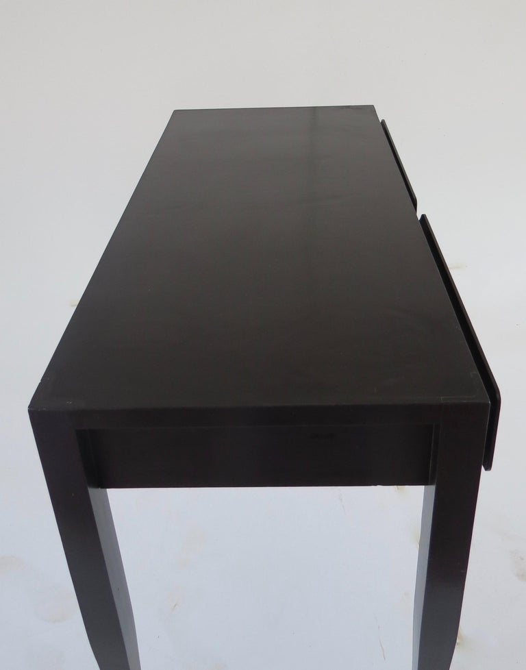 Gio Ponti Black Lacquered Vanity Desk Table Two Drawers from Hotel PdP Roma 1965 In Good Condition For Sale In Rome, IT