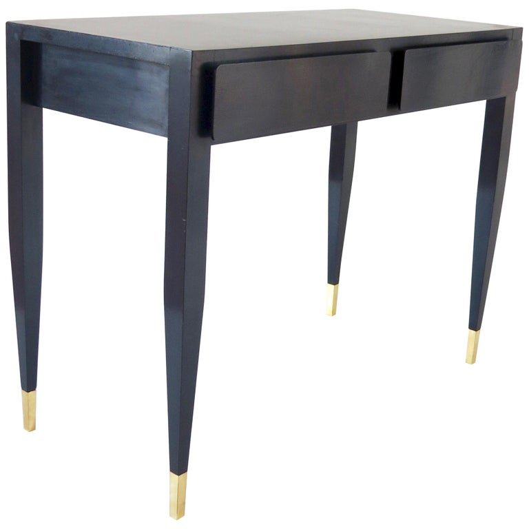Gio Ponti Black Lacquered Vanity Desk Table Two Drawers from Hotel PdP Roma 1965 For Sale