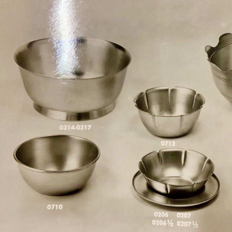Italian Gio Ponti Bowls for ARTHUR KRUPP 1930's to 50's Silvered metal  For Sale