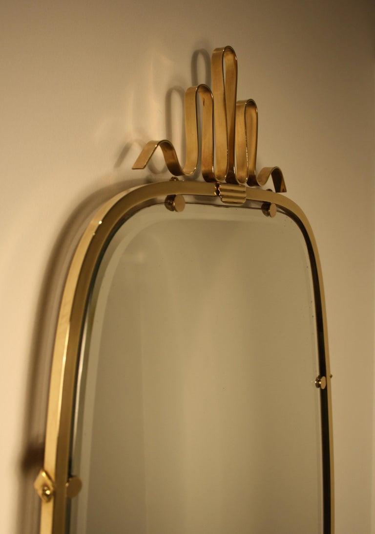 Art Deco Gio Ponti Brass Mirror, 1930s For Sale