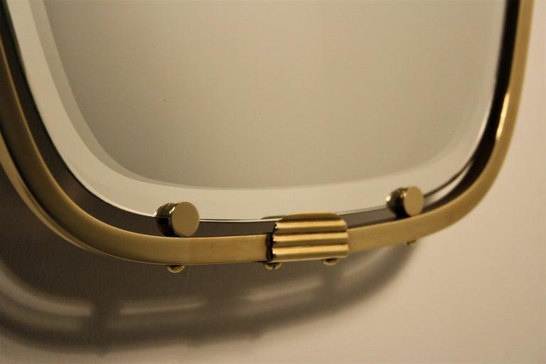 Beveled Gio Ponti Brass Mirror, 1930s For Sale