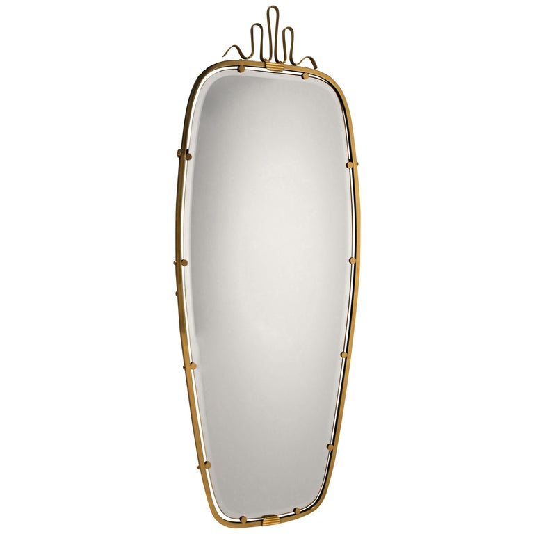 Gio Ponti Brass Mirror, 1930s For Sale