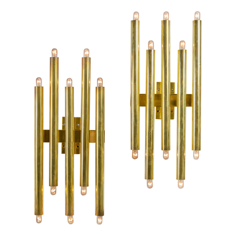 Gio Ponti Brass Multi Cylinder Sconces, Italy 1970s