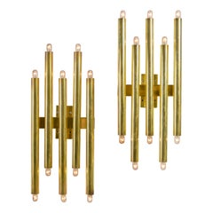 Gio Ponti Brass Multi Cylinder Sconces for Candle, Italy, 1970s