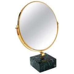 Gio Ponti Brass Table Round Mirror Fontana Arte on Green Marble Block, 1955