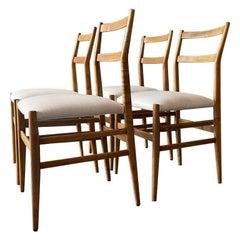 Gio Ponti Cassina Mod. 646 Leggera Chair Ash Wood White Padded Fabric Italy 1952