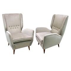 Gio Ponti Certified 1940s Italian Pair of High Back Armchairs in Gray Velvet