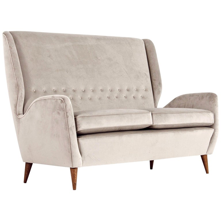 Gio Ponti Certified 1940s Vintage Italian High Back Sofa in Light Gray Velvet For Sale