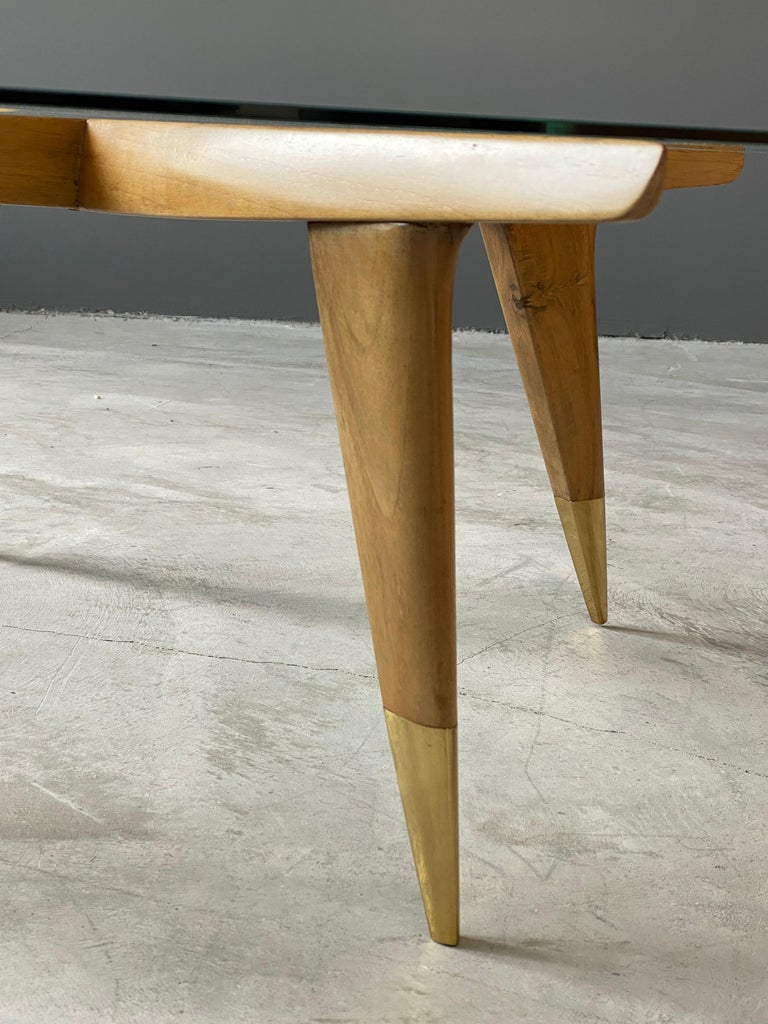 Gio Ponti, Coffee Table, Brass Walnut, Glass, Singer & Sons, America, 1950s For Sale 2