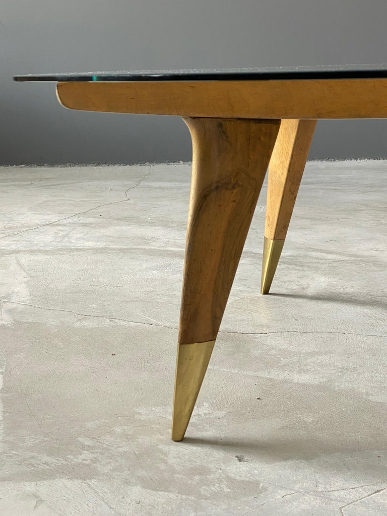Gio Ponti, Coffee Table, Brass Walnut, Glass, Singer & Sons, America, 1950s For Sale 3