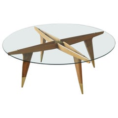 Gio Ponti, Coffee Table, Brass Walnut, Glass, Singer & Sons, America, 1950s