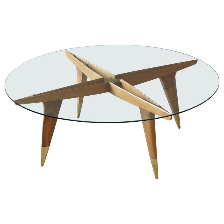 Gio Ponti, Coffee Table, Brass Walnut, Glass, Singer & Sons, America, 1950s For Sale