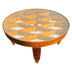 Gio Ponti Coffee Table Giordano Chiesa Italy 1930 Walnut Wood Glass Top