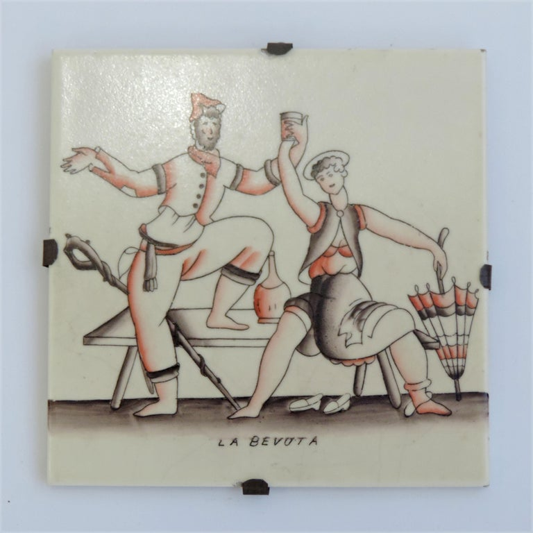Italian Gio Ponti complete 'Vendemmia' series tiles for Richard Ginori, Italy, 1930s For Sale