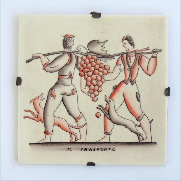 Ceramic Gio Ponti complete 'Vendemmia' series tiles for Richard Ginori, Italy, 1930s For Sale