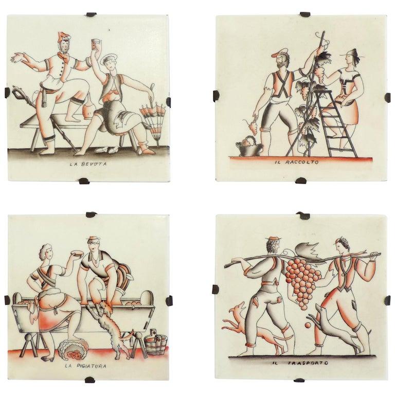 Gio Ponti complete 'Vendemmia' series tiles for Richard Ginori, Italy, 1930s For Sale