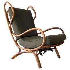 Gio Ponti Continuum Armchair Rattan Upholstered Fabric Green Bonacina Italy 60s