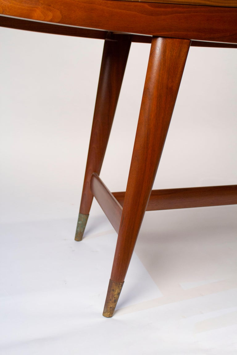 Gio Ponti Convertible Console / Dining Table for M. Singer & Sons in Walnut 1950 For Sale 6