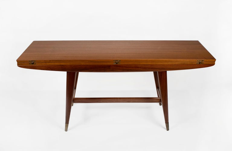 Mid-Century Modern Gio Ponti Convertible Console / Dining Table for M. Singer & Sons in Walnut 1950 For Sale