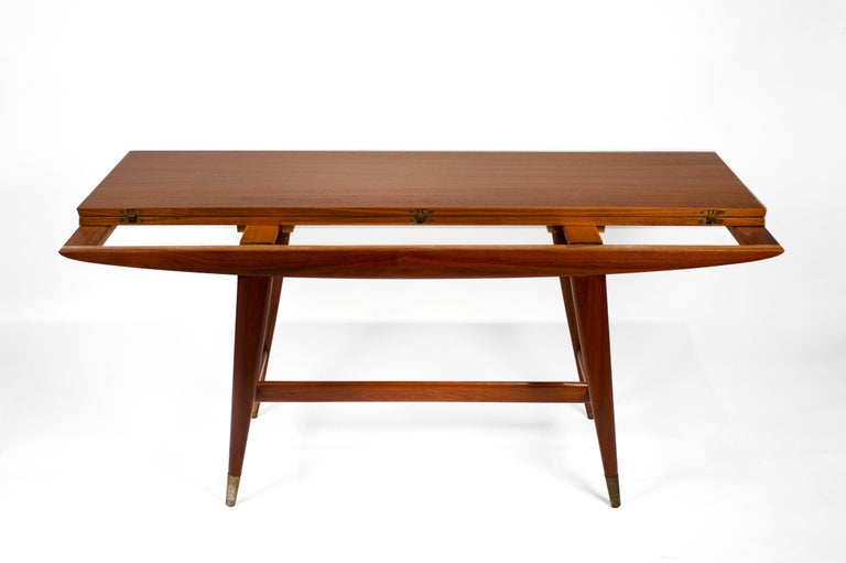Italian Gio Ponti Convertible Console / Dining Table for M. Singer & Sons in Walnut 1950 For Sale