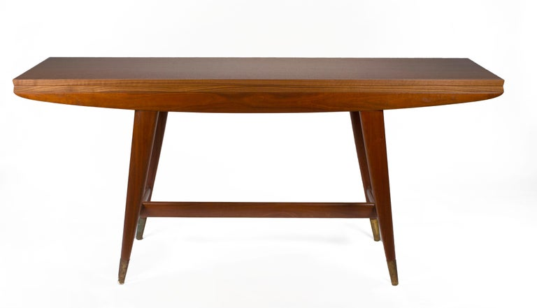 Gio Ponti Convertible Console / Dining Table for M. Singer & Sons in Walnut 1950 In Good Condition For Sale In Dallas, TX