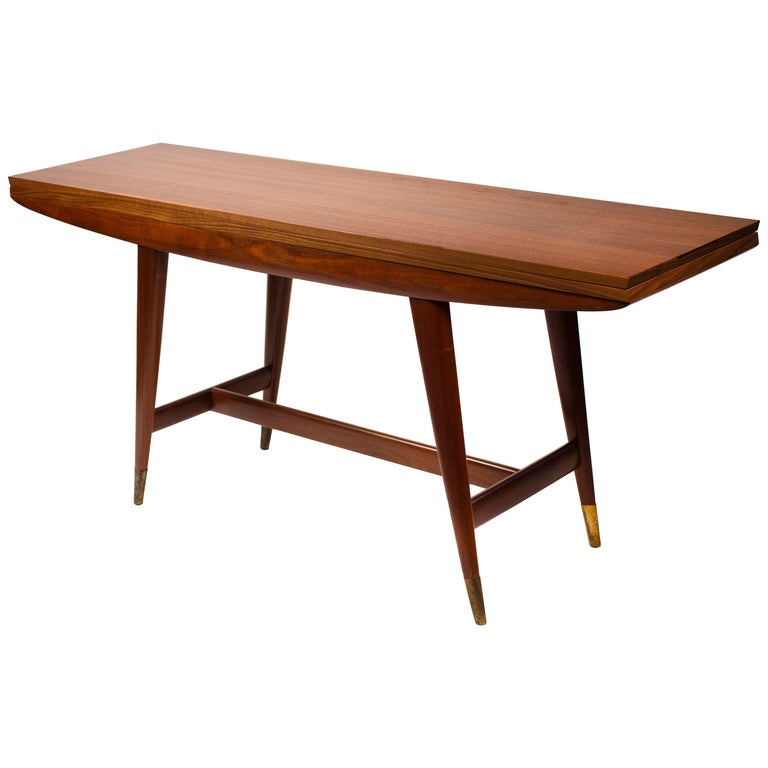Gio Ponti Convertible Console / Dining Table for M. Singer & Sons in Walnut 1950 For Sale