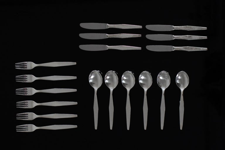 Mid-Century Modern Gio Ponti Cutlery Set for Six in Nickel Silver Krupp, 1950s, Italy For Sale