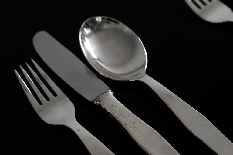 Gio Ponti Cutlery Set for Twelve in Nickel Silver Krupp, 1950s, Italy For Sale 5