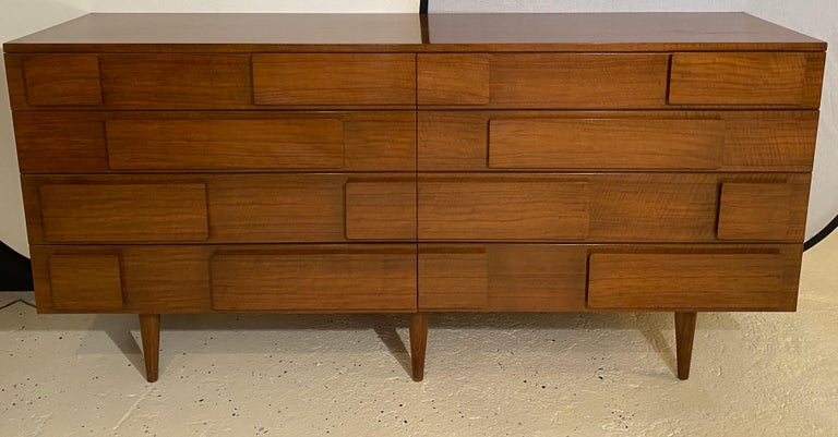 Mid-20th Century Gio Ponti Double Dresser Low Chest Signed M. Singer and Sons Model 2161 For Sale