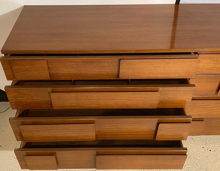 Wood Gio Ponti Double Dresser Low Chest Signed M. Singer and Sons Model 2161 For Sale
