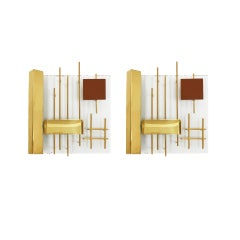 Gio Ponti Edited by Lumi Original Italian 1960s Pair of Sconces