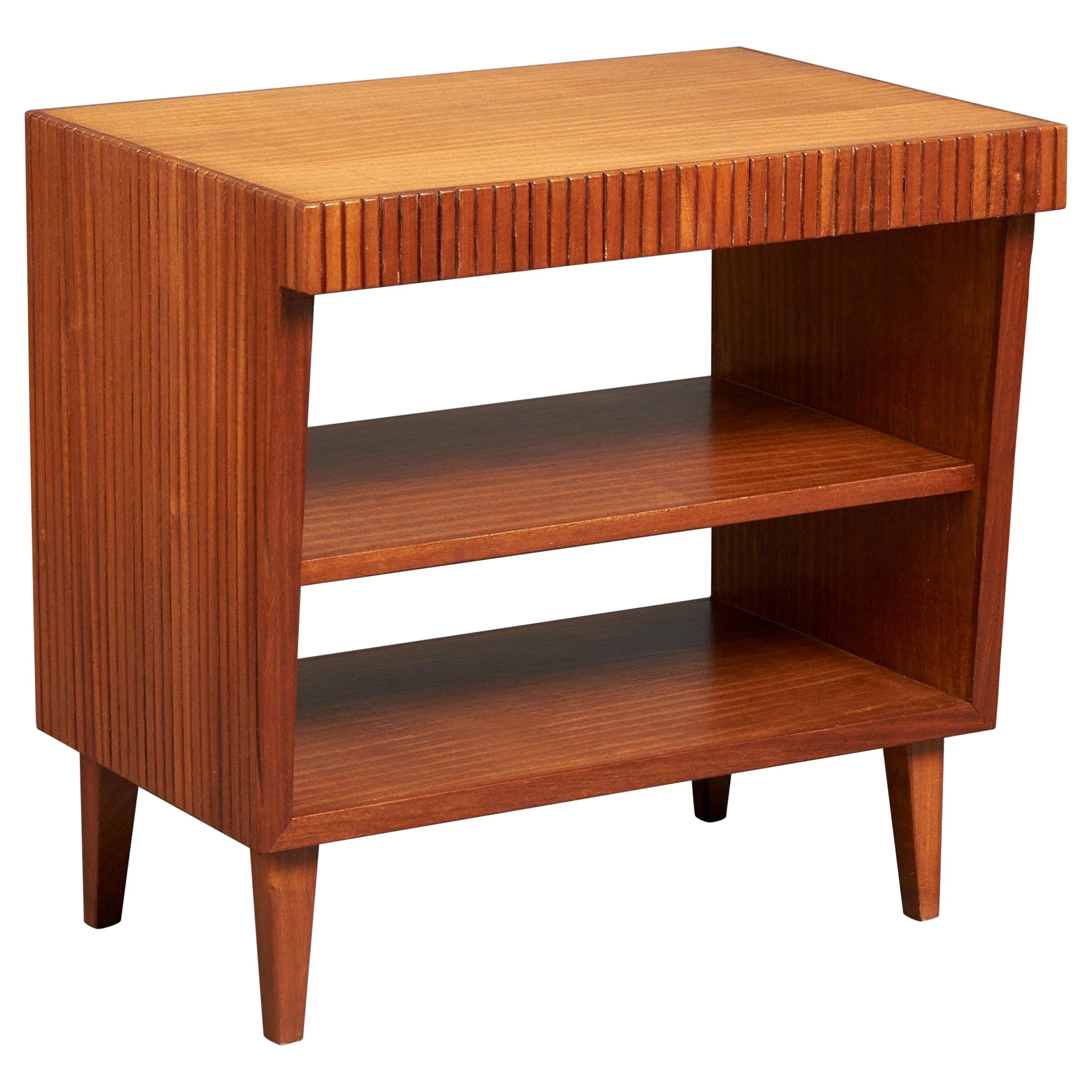 Gio Ponti, End Table with Bookshelves in Reeded Mahogany, Desk Set, Italy, 1950s