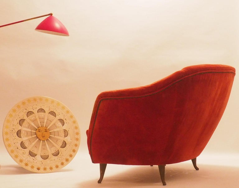 Fine Velvet Sofa with Brass Feet attributed to Gio Ponti for ISA, Italy, c. 1952 For Sale 3