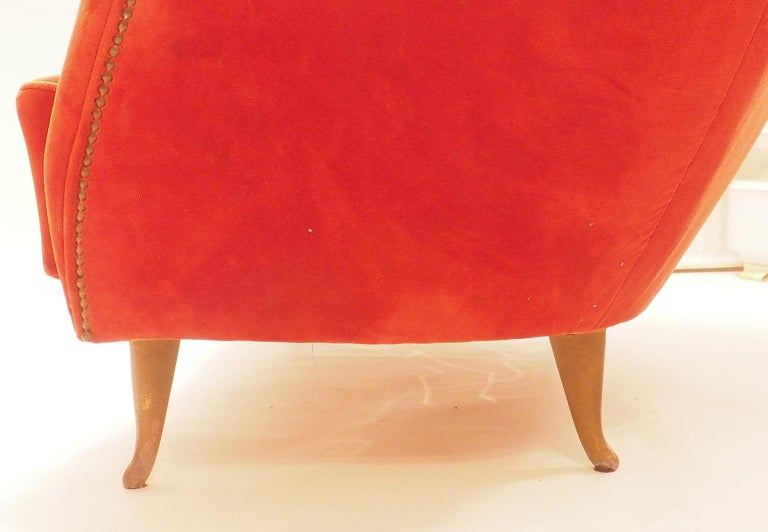 Fine Velvet Sofa with Brass Feet attributed to Gio Ponti for ISA, Italy, c. 1952 For Sale 6