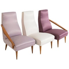 Gio Ponti Attributed and Fils Edition Set of Three Armchairs, circa 1955