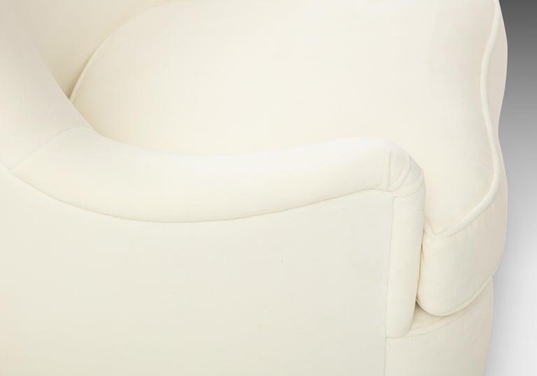 Gio Ponti for Casa e Giardino Pair of Ivory Velvet Armchairs For Sale 5