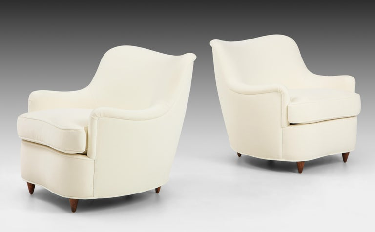 Italian Gio Ponti for Casa e Giardino Pair of Ivory Velvet Armchairs For Sale