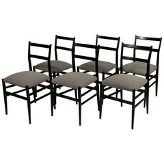 Gio Ponti for Cassina Midcentury Six Black Wood Leggera Chairs Signed
